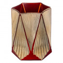 red gold glass candle holder h13cm