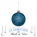 Christmas ball glass 100mm interior glitter 3as