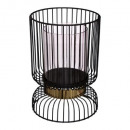 Großhandel Home & Living: Kerzenhalter schwarz Metalllinien 22cm