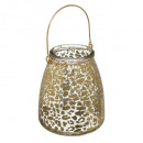 lantern candle holder leopard gold h15cm