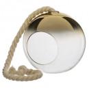 lampa wisząca szklana wędzona kula złota d19