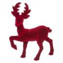 decoración de renos flocados rojos 2ass, 2- veces