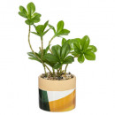 ceramic arty plant h15, 2- times assorted , multic