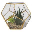 növény artif terra üveg fém d17, átlátszó