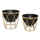 set x2 metal pots + bamboo imitation, black