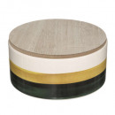 round tea box ceram arty, 2- times assorted , mult