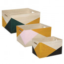 arty wooden crate x3, multicolored