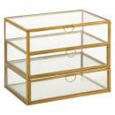 boite 3 tiroirs verre gold pm, transparent
