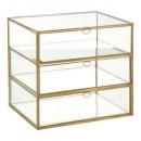 caja 3 cajones vidrio dorado gm, transparente
