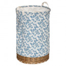 blue, blue linen wicker basket