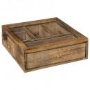 caja de madera de mango, flor de cristal, marrón