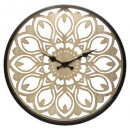 opengewerkte metalen / houten klok d40, ivoor