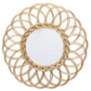 espejo de ratán flor d50 dorado, beige