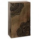 Caja de llaves de madera tallada 28x16, marrón