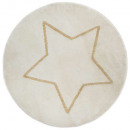 alfombra redonda de estrellas de lúrex, blanco