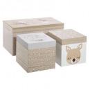 wooden storage box x3, multicolored