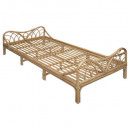 rotan bed 90 x 190, medium beige