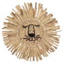 oroszlánfejű fal dekoráció d.56 cm, közepesen bézs