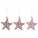 Karácsonyi dekoráció fa csillag műfa x3