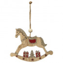 décoration de noël bois cheval bascule 10cm
