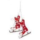 wholesale Decoration: Christmas decoration wood red skate argt 10cm