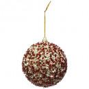 nagyker Dekoráció: Karácsonyi dekoráció labda bl piros arany csillogá