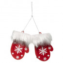 groothandel Kleding & Fashion: Kerstdecoratie hout moffel rood 10cm