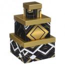 hurtownia Dom & Kuchnia: kwadratowe pudełka x3 czarny geom