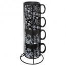 rack 4 mugs m black floral