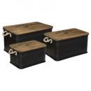 cuba zwart houten metalen koffer x3, zwart