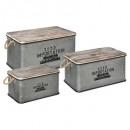 baúl de metal madera zinc x3, gris