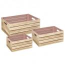 caja cajón casa rosa x3, rosa