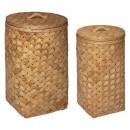 linnen mand licht hout x2, caramel bruin