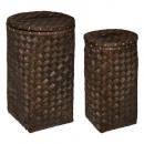 cesto de madera oscura para ropa x2, marrón