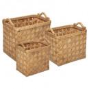 cesta rectangular de madera clara x3, marrón caram