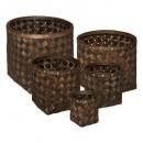 cesta de madera redonda oscura x5, marrón
