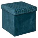 foldable pouf in velvet can liam, duck blue