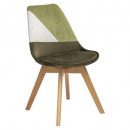 chaise patch en velours baya kaki, vert kaki