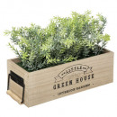 wooden house planter 25,5cm, medium beige