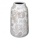 folk witte keramische vaas h27, ivoor