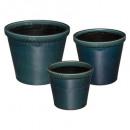 keramische pot x3 blik folk, eend blauw