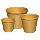 keramische pot x3 oc folk, okergeel