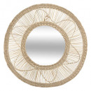 wholesale Decoration: seagr mirror plate flower d58, linen beige
