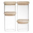 wholesale Decoration: stackable glass jar x4 + wood