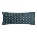 Pillow lg in velvet art gold can35x75, duck blue