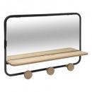mirror coat hook + 3 t filo shelf, black