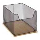 metalen / bamboe bureau opberger, zwart