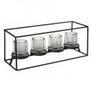 theelichthouder x4 fancy glas l35, zwart