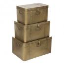 goudkleurige metalen kofferset x3, goud