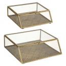 caja de metal oasis glass x2, dorado